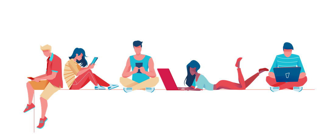 Young Boys and girls using mobile and laptop Illustration
