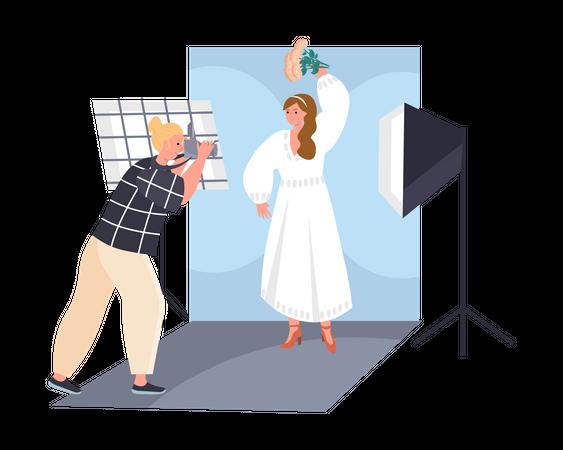 Young bride photoshoot Illustration