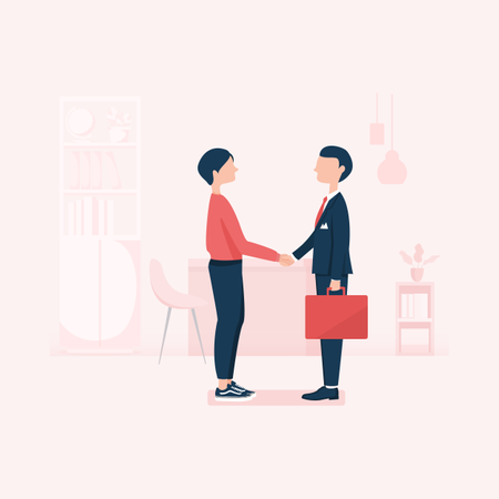 Young business person dealing with client Illustration