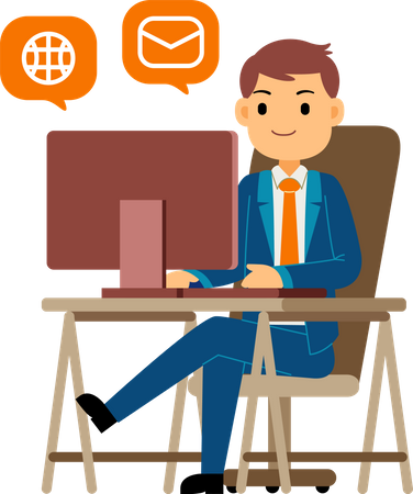 Young businessman communicate globally using mail service Illustration
