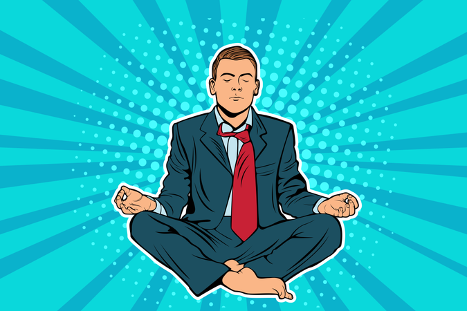 Young businessman sitting in lotus position pop art comic book vector illustration. Calm man in business suit meditating. Entrepreneur engage in spiritual practices for mental balance, stress relief Illustration