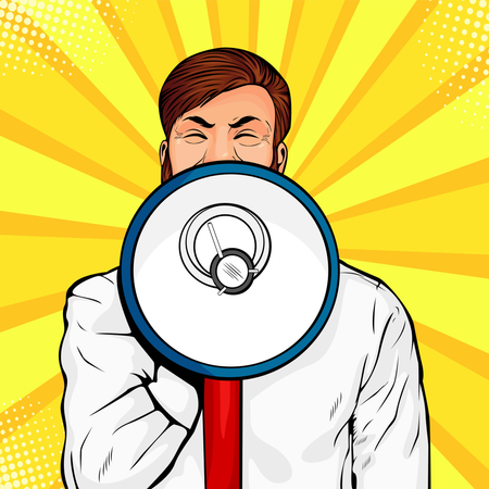 Young businessman with open mouth and megaphone screaming announcement Illustration