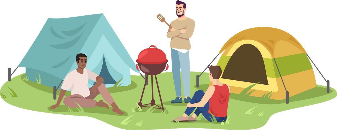 Young campers on barbecue Illustration