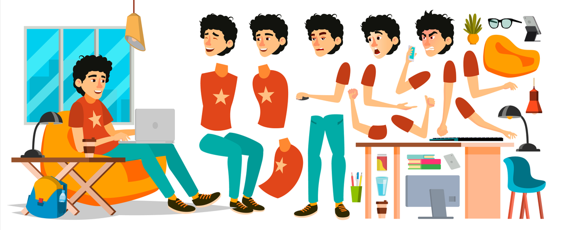 Young Coder In Modern Office Workplace Illustration
