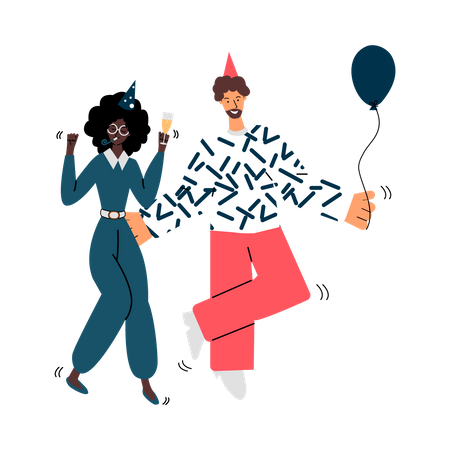 Young couple dancing Illustration