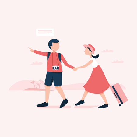 Young couple going for holiday with luggage Illustration