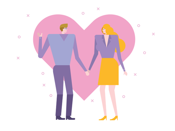 Young couple holding hands and walking Illustration