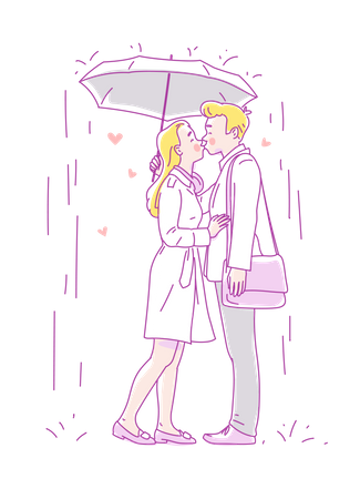 Young couple kissing in the rain under an umbrella Illustration