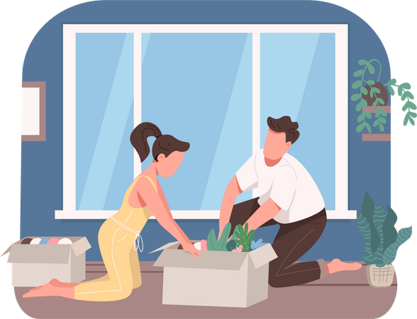 Young couple planting flowers Illustration