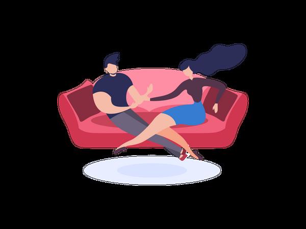 Young couple sitting on sofa Illustration