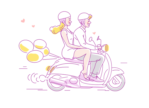 Young couple traveling on scooter with balloons behind Illustration