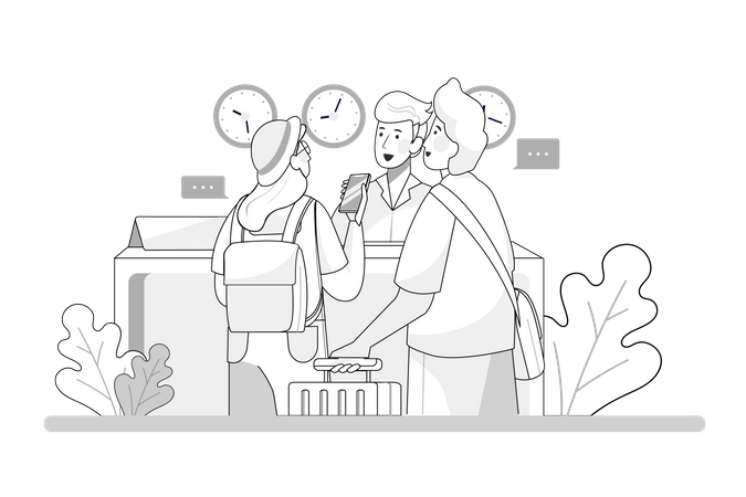 Young couple with suitcases is standing at the hotel reception desk Illustration