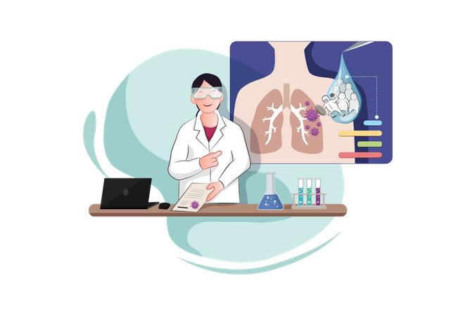 Young Doctor Presents Virus Vaccine in Lab Illustration