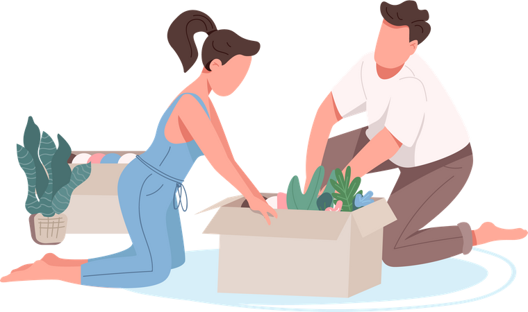 Young family doing planting Illustration