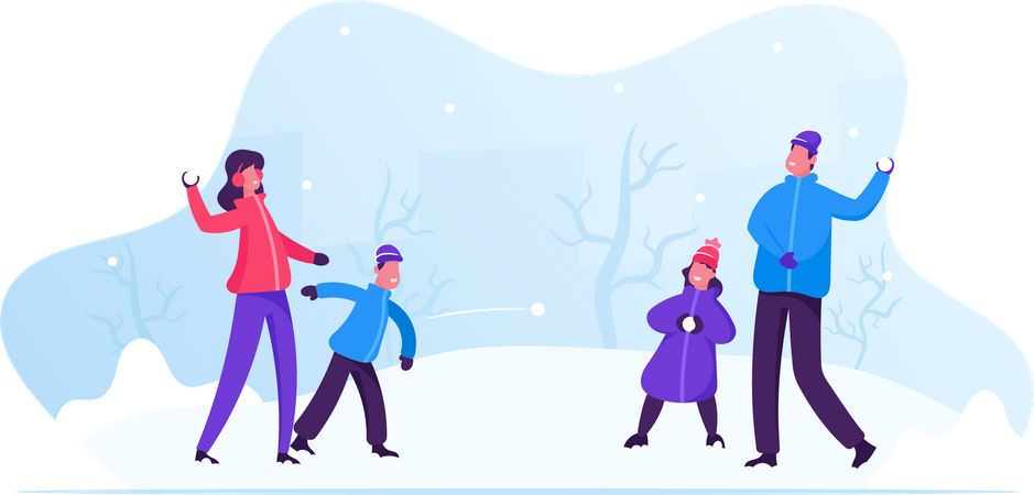 Young Family Playing Snowball Fight and Having Snow Fun in Winter Day Illustration