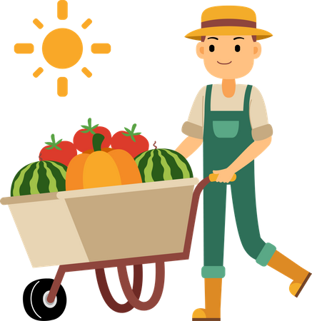 Young farmer pushing a wheelbarrow of vegetables and fruit Illustration