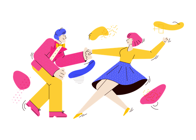 Young fashion people dancing rock-n-roll or swing Illustration