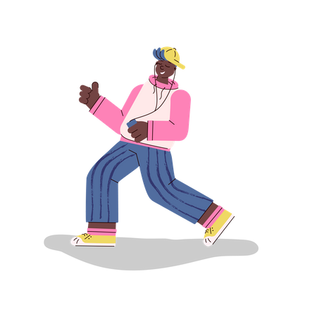 Young fashionable man or boy dances and listens to music using phone and headphones Illustration