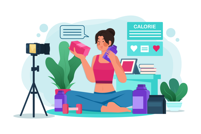 Young female blogger or vlogger and online influencer recording video content on healthy food Illustration