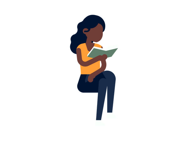 Young girl reading book Illustration