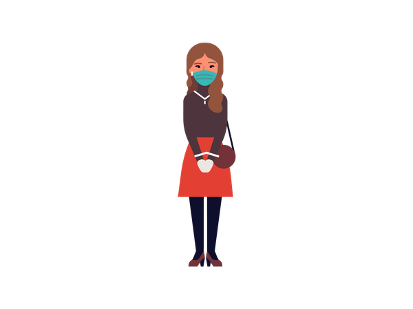 Young girl wearing mask and gloves Illustration