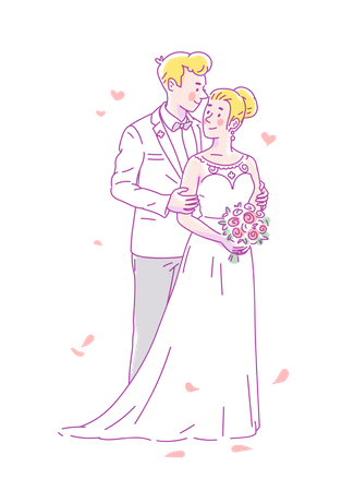 Young groom in white costume and bride in wedding dress and flowers get married Illustration