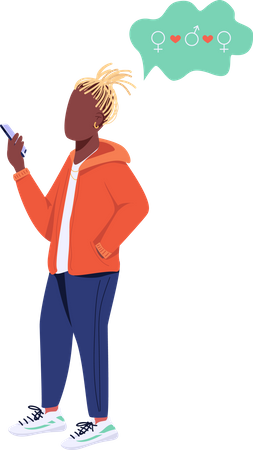 Young guy with smartphone Illustration