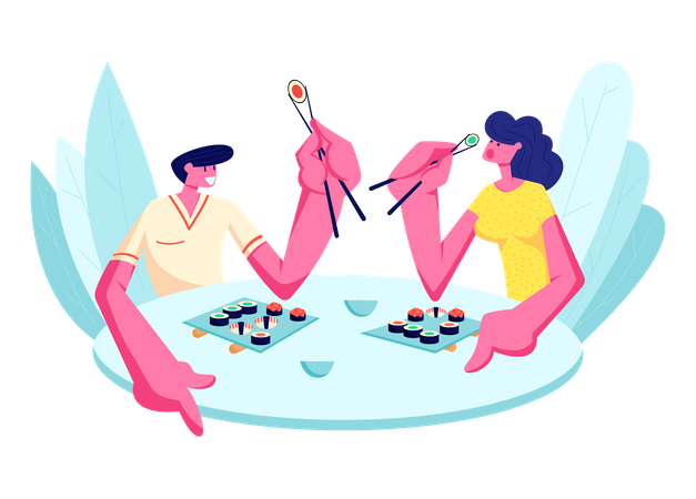 Young Happy Couple Eating Sushi in Restaurant Illustration