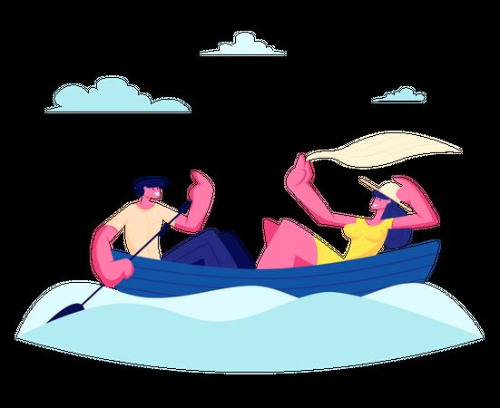 Young Happy Couple enjoying boating Illustration