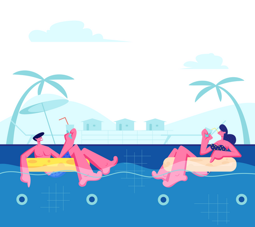 Young Happy Couple Relaxing at Resort Illustration