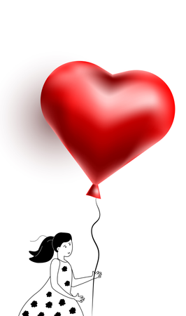 Young happy woman walking with balloon in the shape of heart Illustration