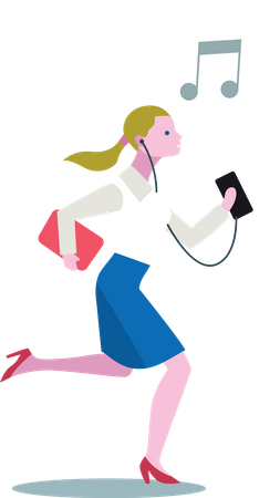 Young lady listening music from her smartphone while running Illustration