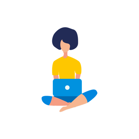 Young lady using laptop while seating on floor Illustration