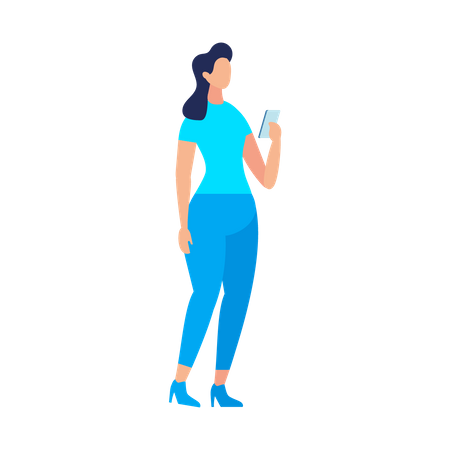 Young lady using smartphone while standing Illustration