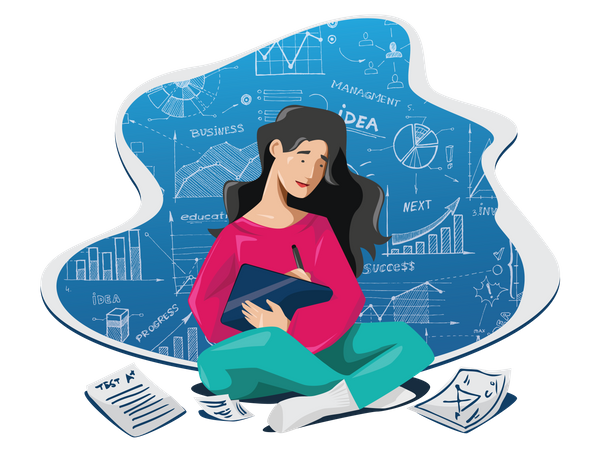 Young lady writing business blog with research in digital pad Illustration