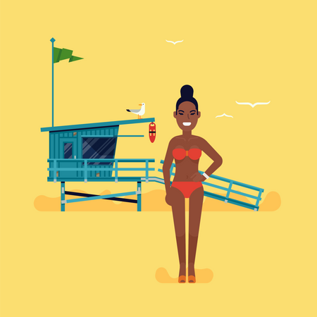 Young lifeguard woman standing on beach Illustration