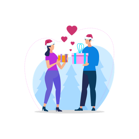 Young Loving Couple in Santa Hats Illustration