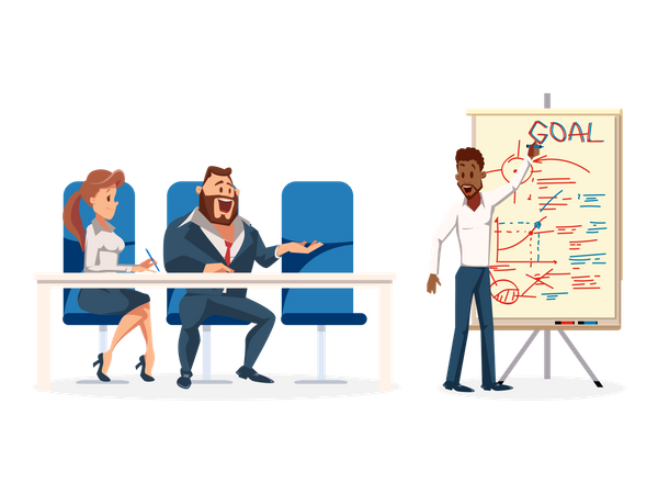 Young male employee giving Presentation Illustration