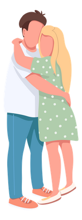 Young man and woman hugging Illustration