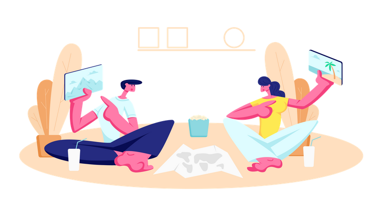 Young Man and Woman Sitting on Floor at Home Illustration