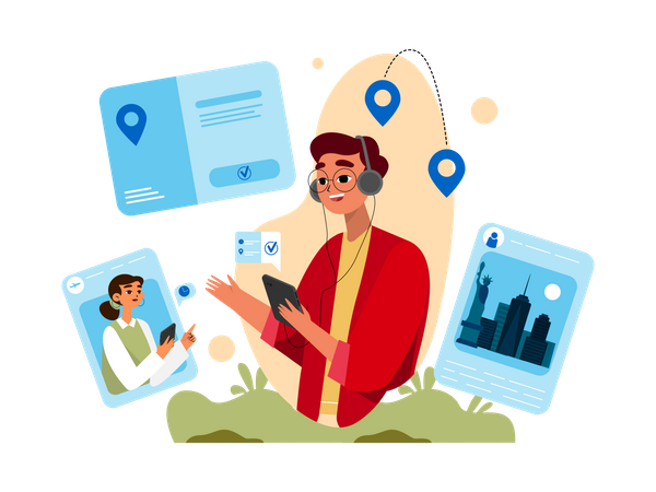 Young man booking online tickets from travel agency Illustration