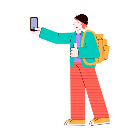 Young man character - student or traveler, tourist with backpack doing selfie photo using mobile phone Illustration