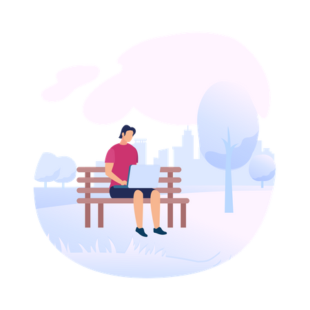 Young Man Character Wearing Red T-Shirt Sitting on Bench in Park with Laptop Illustration