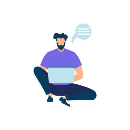 Young man chatting on laptop Illustration