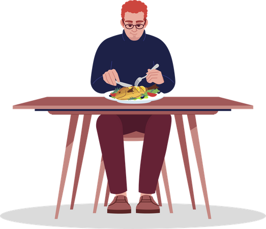 Young man enjoying seafood Illustration