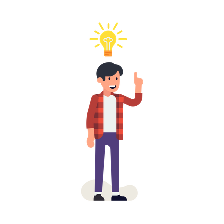 Young man having an idea represented by light bulb Illustration