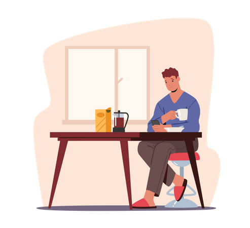 Young Man Having Breakfast with Smartphone in Hands Write Message Illustration