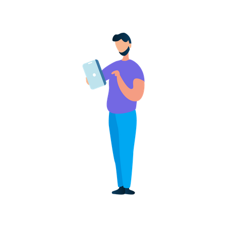 Young man operating tablet Illustration