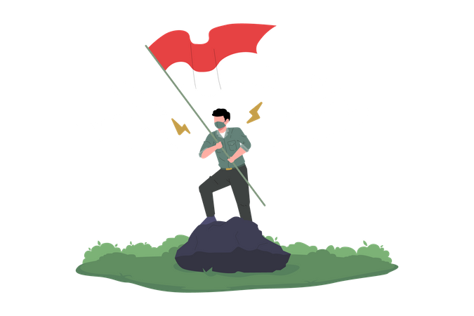 Young man raises Indonesia's Flag Illustration