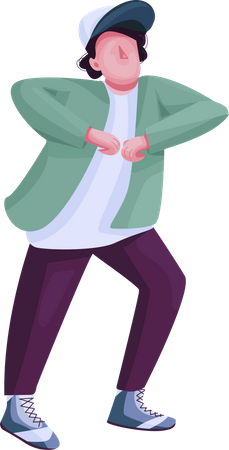 Young man showing dance movements Illustration